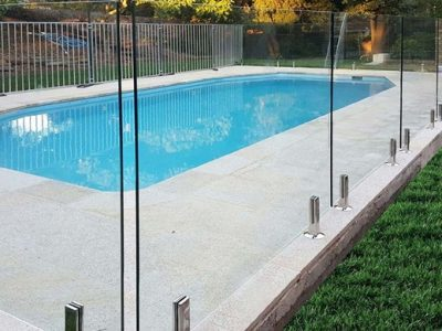 glass fencing installed on the pool in castle hill